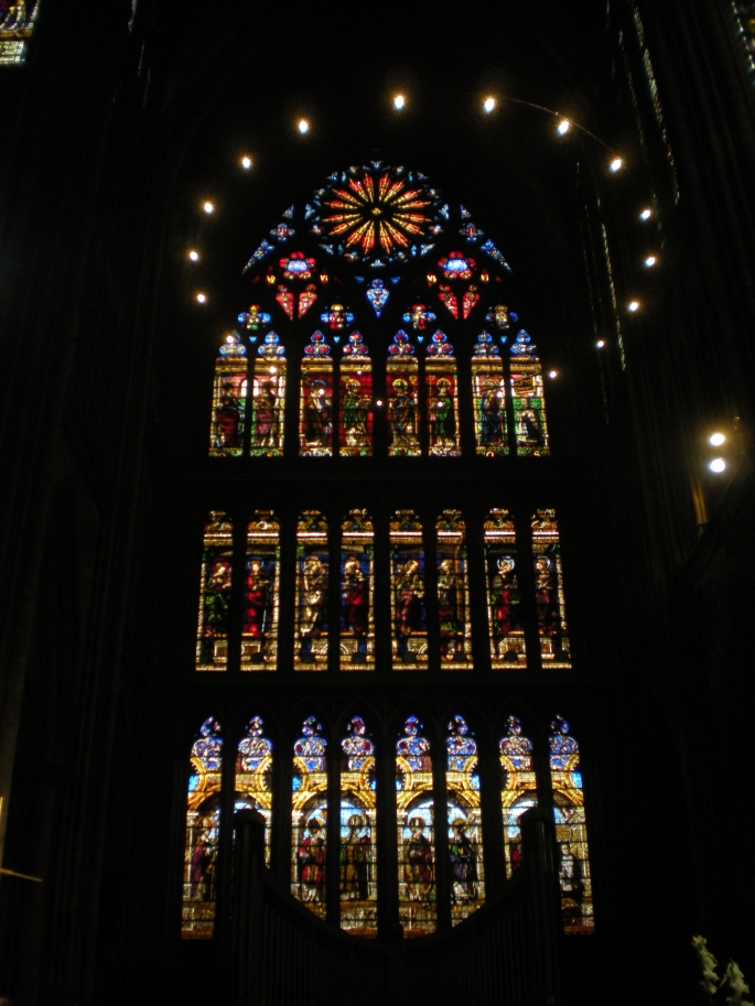 A stained glass window inside Saint Étienne de Metz Cathedral