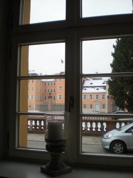 Looking out the window of Brauhaus zum Ritter