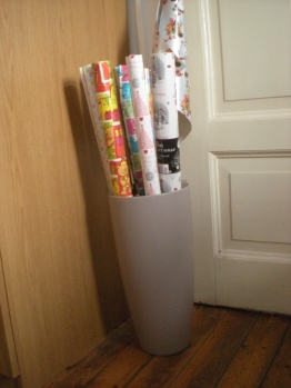 Giant vase? Nah... gift wrap holder!