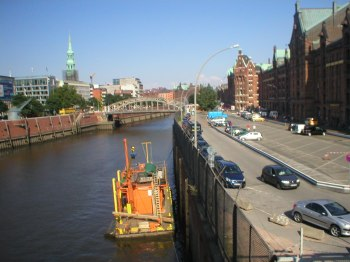 The Elbe and the start of the Speicherstadt