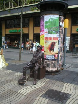 "A ""living statue"" on La Ramblas, Barcelona"