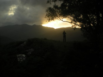 My friend admiring the sunset at Ladies View