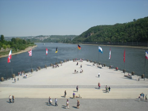 The deutsches Eck in Koblenz, where die Mosel und der Rhein meet.