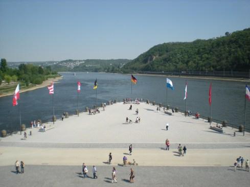 The deutsches Eck in Koblenz, where die Mosel und der Rhein meet.