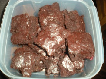 Brownies, in a tupperware tub waiting to go to work