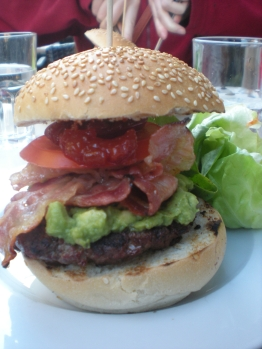 Avocado and bacon burger
