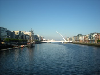 The River Liffey and the Harp Bridge (officially Samuel Beckett Bridge)