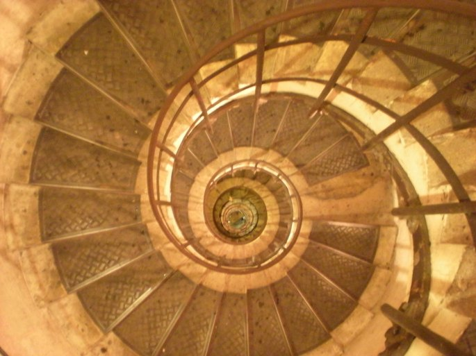 Spiral staircase at the Arc de Triomphe