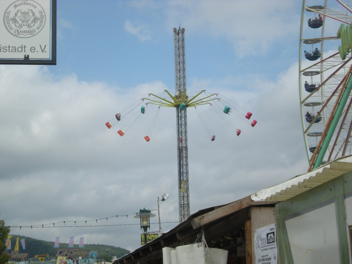 A spinning swings ride