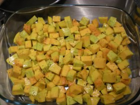 Some bits of squash are slighty green because it wasn't 100% ripe yet. It still tasted good though!