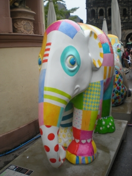 This colourful elephant looked so sad...