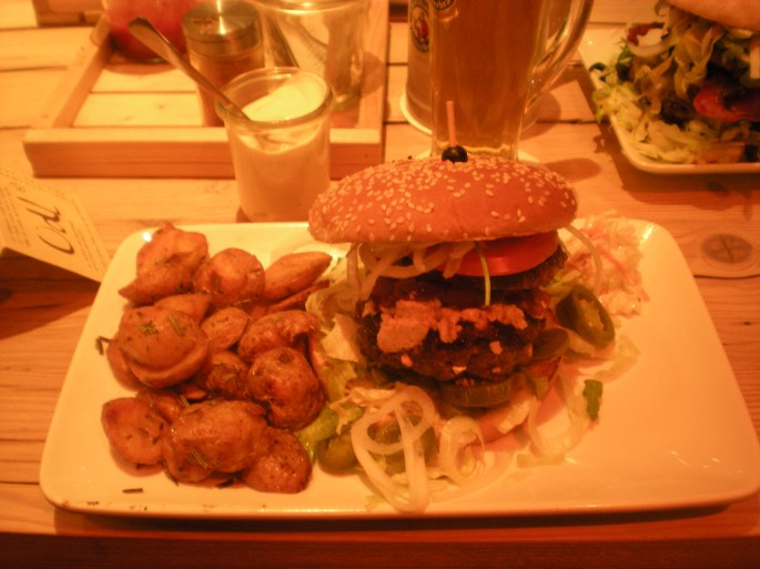 My burger... please excuse the terrible photography!
