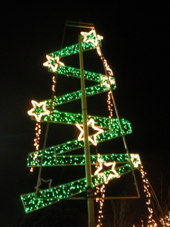 Lights shaped like a Christmas tree