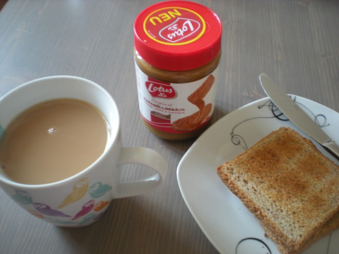 Tea, toast and caramel biscuit spread
