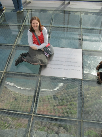 On the glass platform
