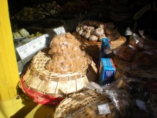 This stall was selling Mediterranean specialities, including olives and marinated aubergine slices