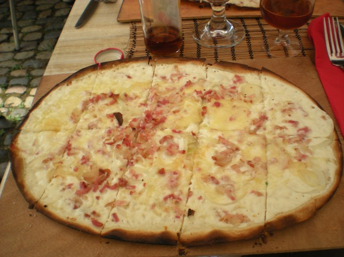 Tarte flambée, or Flammkuchen in German