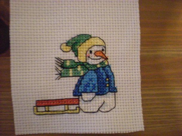 cross stitch snowman