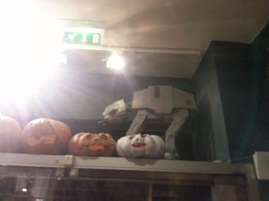 Above the entrance. It was Halloween, hence the pumpkins