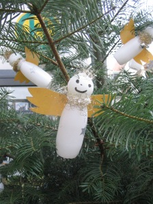 There were trees all along the main shopping street with decorations made by school children, etc. from recycled materials
