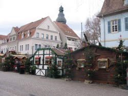 Stalls in front of pretty buildings