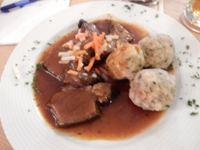 Yummy yummy veal in gravy with delicious bread dumplings