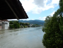 The River Aare, viewed from the entrance to the wooden bridge
