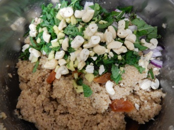 Add the chopped ingredients to the couscous...