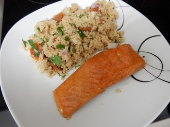 Couscous salad with smoked salmon fillet