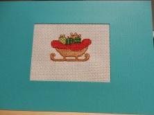 Sleigh cross stitch card