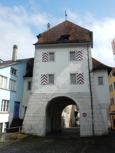 Entering Delémont through the old gate