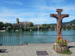 Crucifix on the Swiss side of the river, Bad Säckingen over the other side