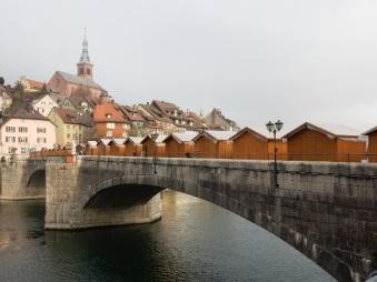 Christmas market on the bridge, viewed from Switzerland
