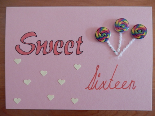 pink sixteenth birthday card